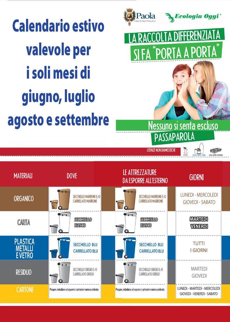 Raccolta Differenziata Cosenza Calendario 2019.Comune Di Paola Cs Citta Di San Francesco